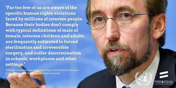 Opening remarks by Zeid Ra'ad Al Hussein, United Nations High Commissioner for Human Rights at the Expert meeting on ending human rights violations against intersex persons